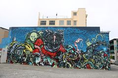 Graffiti, dalla terra in su Christchurch 2013-4 Immagine Stock