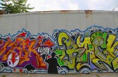 Graffiti dans la section rouge de crochet de Brooklyn Photo libre de droits