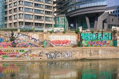 Graffiti. Danube Canal. Vienna. Austria Stock Photos