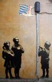 Graffiti de Banksy Photo stock
