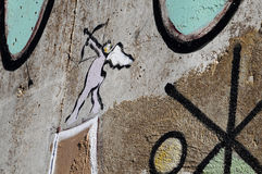 Graffiti de cupidon Photographie stock