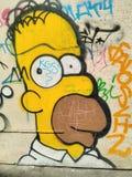 Graffiti de Homer Simpson images libres de droits