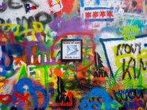 Graffiti de mur de John Lennon à Prague, République Tchèque Images stock
