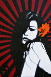 Graffiti de pochoir d'un beau femme Photos libres de droits