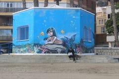 Graffiti de sirène à Malaga Photo libre de droits