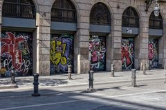 Graffiti in de Stad van Barcelona stock afbeelding