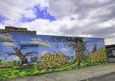 Graffiti in de Stad van New York tegen een blauwe hemel Royalty-vrije Stock Fotografie