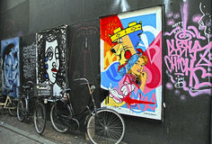 Graffiti decorated wall in center of Amsterdam, Netherlands. Stock Photography