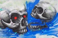 Graffiti dei crani Immagini Stock