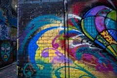 Graffiti dei graffiti della via al calzettaio Lane ed al vicolo Melbourne, Victoria, Australia del sindacato immagine stock