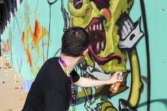 Graffiti dei pittori nel corso della via Art Festival Thess Fotografie Stock Libere da Diritti