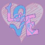 Graffiti del cuore di amore illustrazione di stock