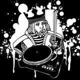 Graffiti del re DJ Fotografia Stock