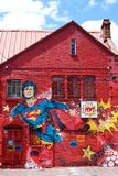 Graffiti del superman su una parete a Bogota, Colombia Fotografia Stock