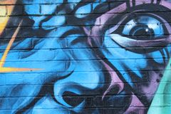 Graffiti dell'occhio azzurro nello stile di urbano occhi Immagini Stock Libere da Diritti