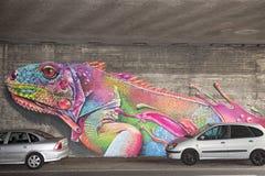 Graffiti della lucertola Fotografie Stock