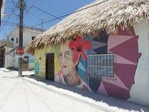 Graffiti della signora anziana di Holbox Fotografie Stock