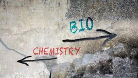 Graffiti della via bio- contro chimica immagini stock