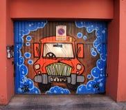 Graffiti della via a Madrid, Spagna Immagine Stock