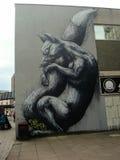Graffiti della volpe di sonno Fotografia Stock