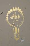 Graffiti denken Glühlampe Stockbild