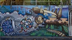Graffiti depicting the environment of Guadalquivir garden Royalty Free Stock Photography