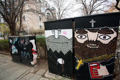 Graffiti depicting the priests of the church Royalty Free Stock Photos