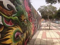 Graffiti in der Hintergasse von Spanien Stockbild