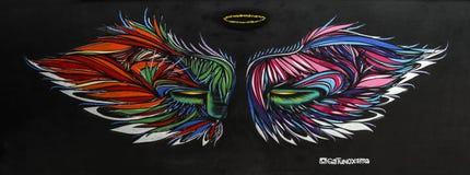 Graffiti des nicht identifizierten Künstlers auf der Wand der Batman-Gasse Stockfotos