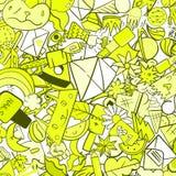 Graffiti deseniują z miastowymi styl życia linii ikonami Szalonego doodle abstrakcjonistyczny wektorowy tło Fotografia Royalty Free