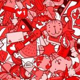 Graffiti deseniują z miastowymi styl życia linii ikonami Szalonego doodle abstrakcjonistyczny wektorowy tło Zdjęcie Stock
