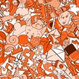 Graffiti deseniują z miastowymi styl życia linii ikonami Szalonego doodle abstrakcjonistyczny wektorowy tło Zdjęcie Royalty Free