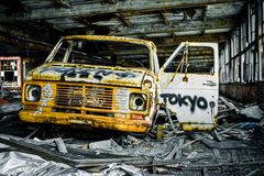 Graffiti Destroyed Rusty Abandoned Truck Stock Image