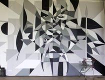Graffiti detail of III Brazilian Biennial Graffiti Fine Art. SAO PAULO, BRAZIL - MAY 30, 2015: An detail of one mural with graffiti of painter Ficore at III stock photos