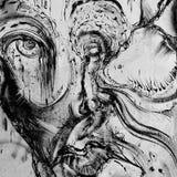 Graffiti detail. Imaginative human face graffiti detail on a Thessaloniki wall, Greece. Photograph taken on June, 2013 stock illustration