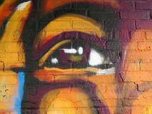Graffiti Detail. Painted Wall: Colorful Abstract Eye in Detail of Graffiti stock image