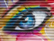 Graffiti Detail. Painted Wall: Colorful Abstract Eye in Detail of Graffiti royalty free stock photos