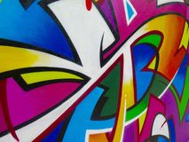 Graffiti Detail. Painted Wall: Colorful Abstract Pattern in Detail of Graffiti stock photography