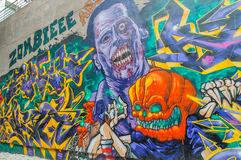 Graffiti di arte in 798 via, Pechino il 25 maggio 2013. Immagine Stock Libera da Diritti