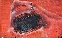 Graffiti di attacco dello squalo a Detroit Fotografia Stock Libera da Diritti