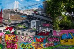 Graffiti di consegna della via Fotografia Stock