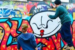 Graffiti di Lisbona della via Fotografie Stock Libere da Diritti
