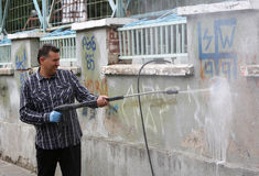 Graffiti di pulizia Fotografie Stock Libere da Diritti