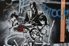 Graffiti di tema di Facebook Fotografia Stock