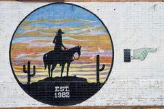 Graffiti di tema occidentali ai recinti per il bestiame di Fort Worth Fotografia Stock Libera da Diritti