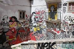 Graffiti di Vadio di fado a Lisbona Immagini Stock Libere da Diritti