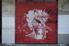 Graffiti die het gezicht van een vrouw afschilderen Royalty-vrije Stock Afbeeldingen