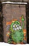 Graffiti divertenti sul muro di mattoni a Salisburgo Immagine Stock Libera da Diritti