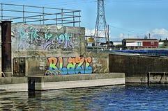 Graffiti door de Rivier Trent Royalty-vrije Stock Foto