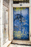 Graffiti. On a door in Faro, Portugal royalty free stock photography